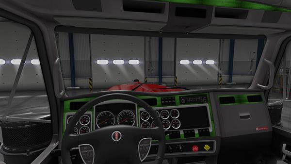 Kenworth W900 Green Grey Interior