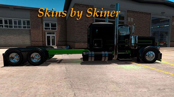 Peterbilt 389 Black Metallic Stripes Skin update